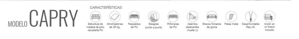 Características de sofá modelo Capry